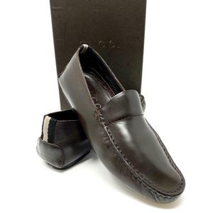 GUCCI Dark Chocolate Brown Leather Loafer